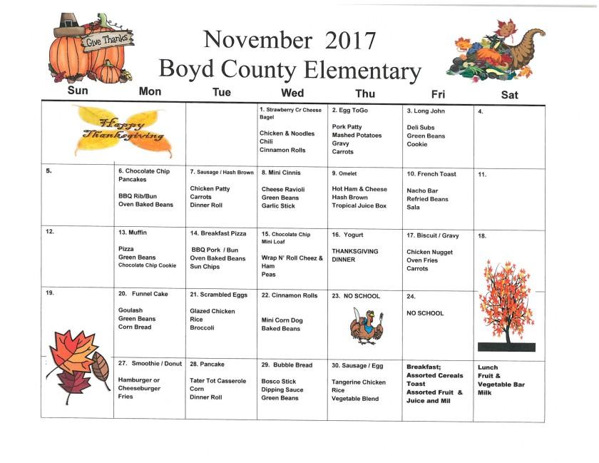 November 2017 Elementary Menu
