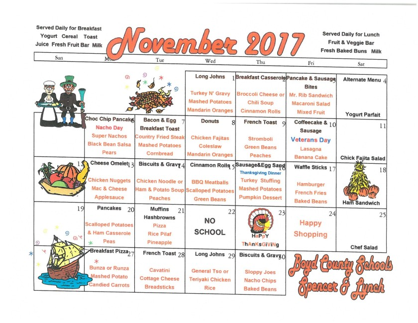 November 2017 MSHS Menu