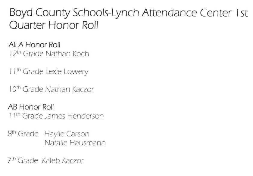Q1 Honor Roll Lynch