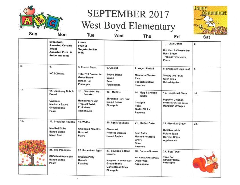 September 2017 Elementary Menu