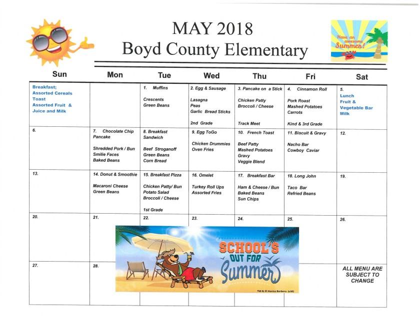May 2018 Elementary Menu