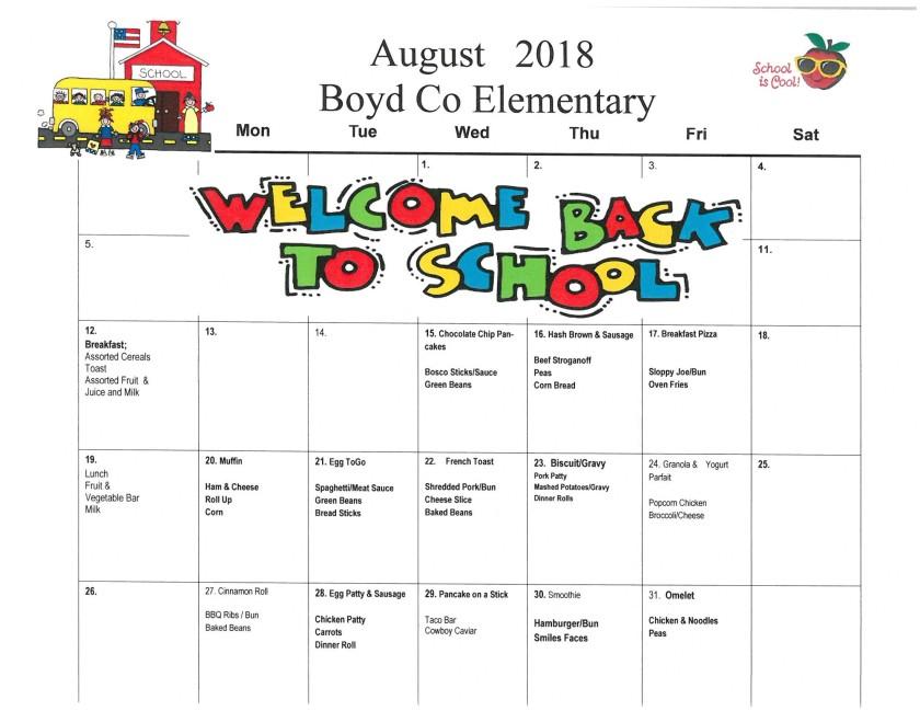 August 2018 Elementary Menu