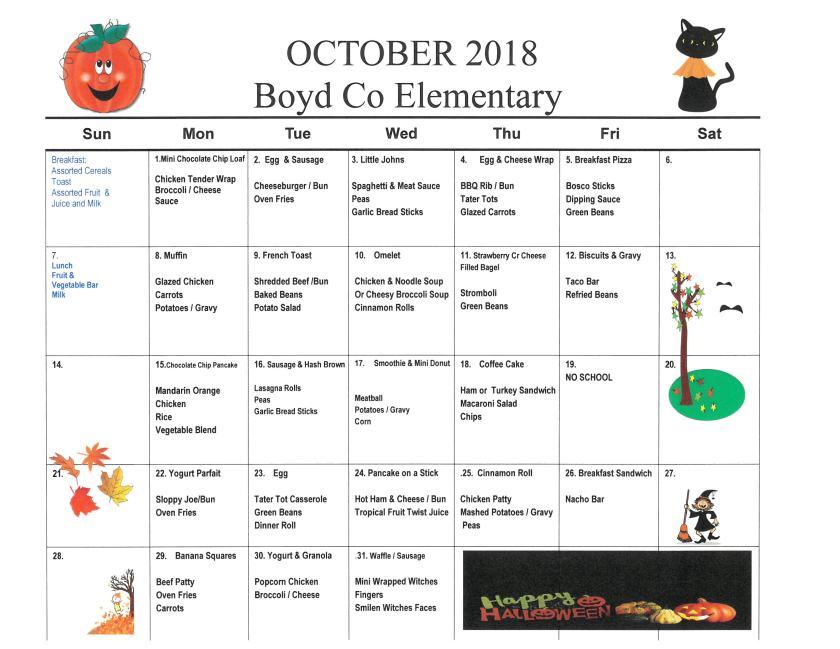 October 2018 Elementary Menu