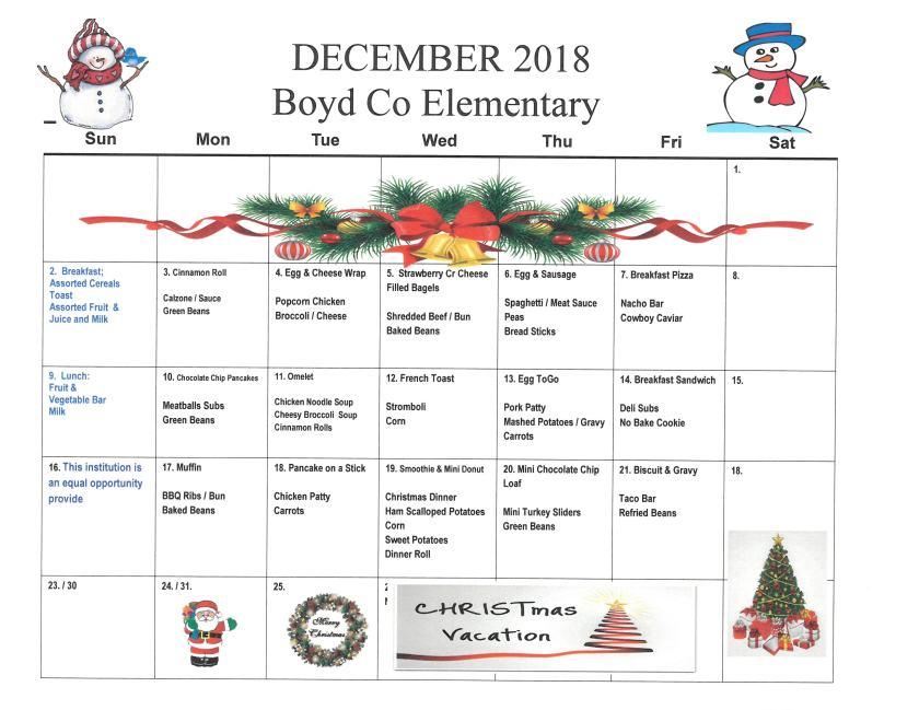 December 2018 Elementary Menu